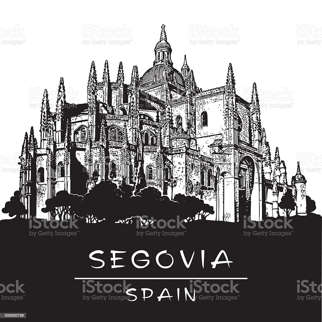 Cathedral of Segovia. Gothic architecture in Spain. vector art illustration