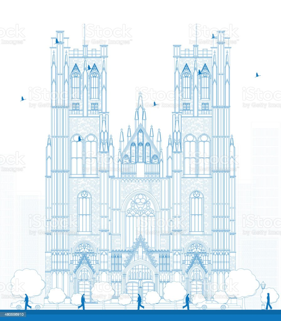 Cathedral of St Michael and St Gudula vector art illustration