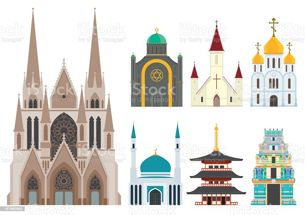 1 cathedral with 6 small worship centers of other faiths vector art illustration