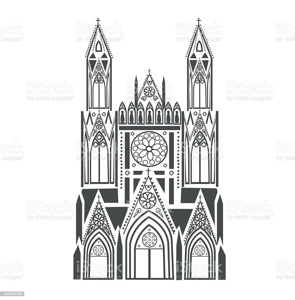Catholic Cathedral in the Gothic style vector art illustration