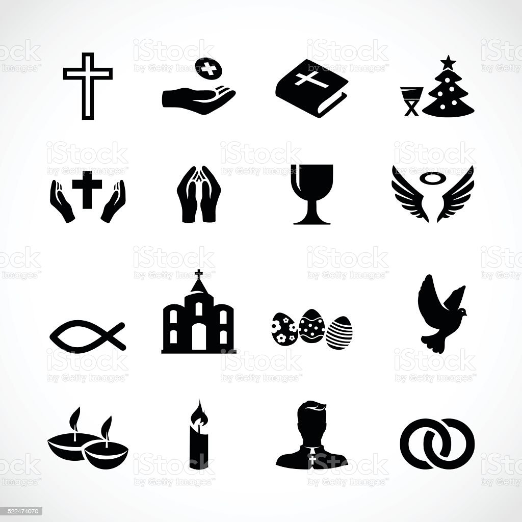 Catholic church icon set vector illustration vector art illustration