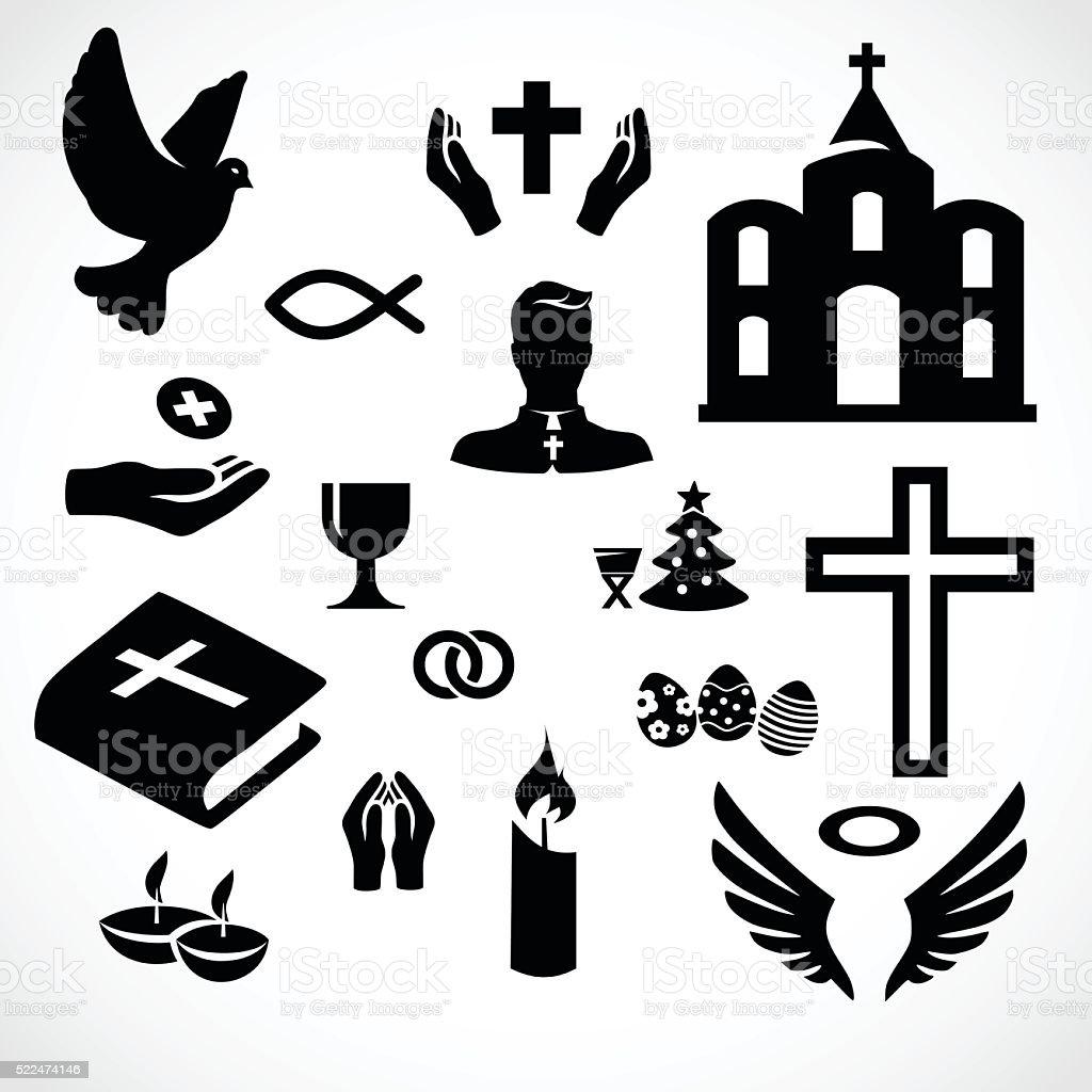 Catholic church icon set vector illustration vector art illustration