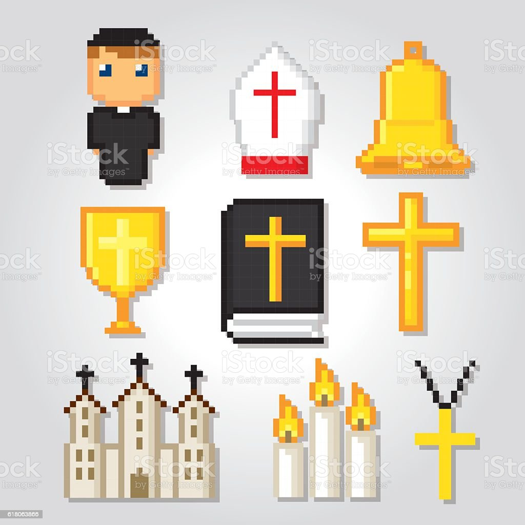 Catholic icons set. Pixel art. Old school computer graphic style. vector art illustration