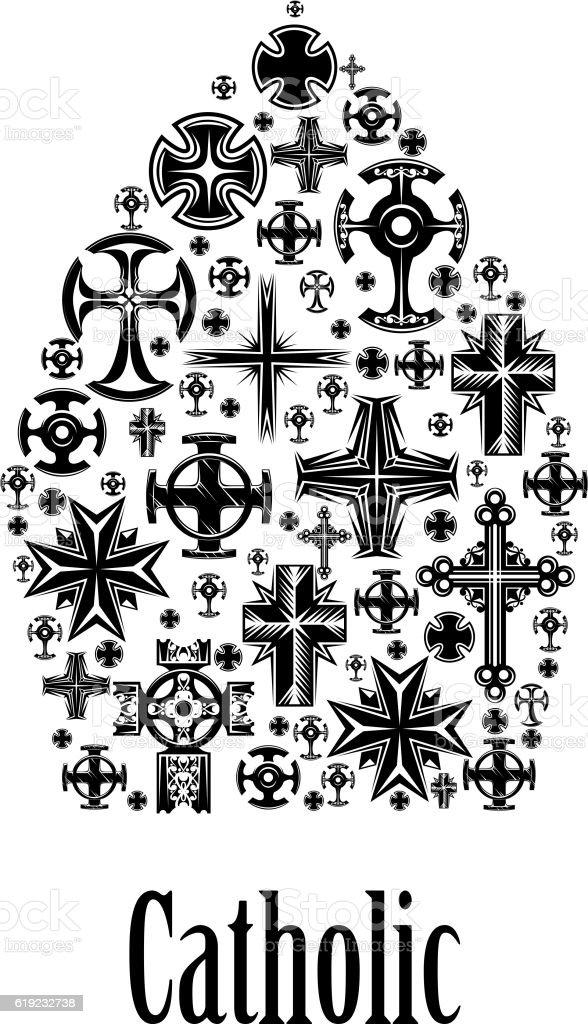 Catholic mitre icon of christianity cross elements vector art illustration