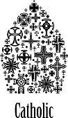 Catholic mitre icon of christianity cross elements