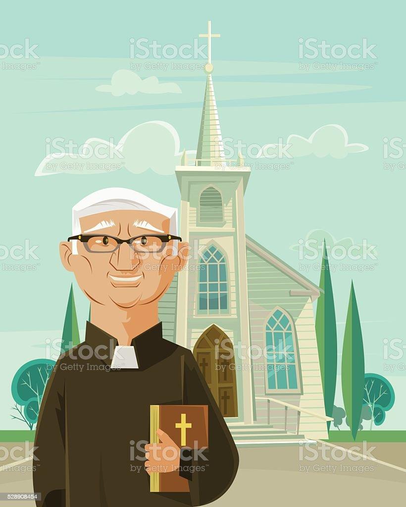 Catholic priest and church. Vector flat cartoon illustration vector art illustration