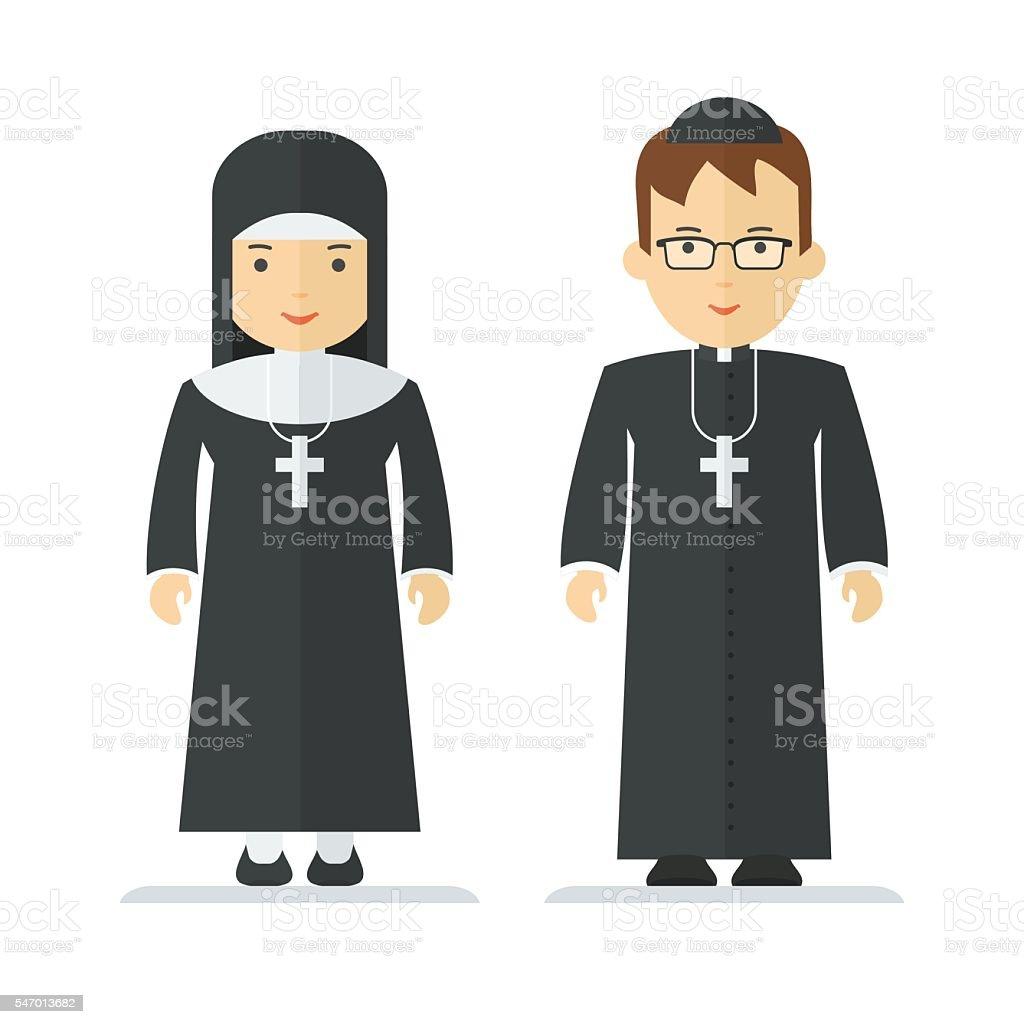 catholic priest and nun vector art illustration