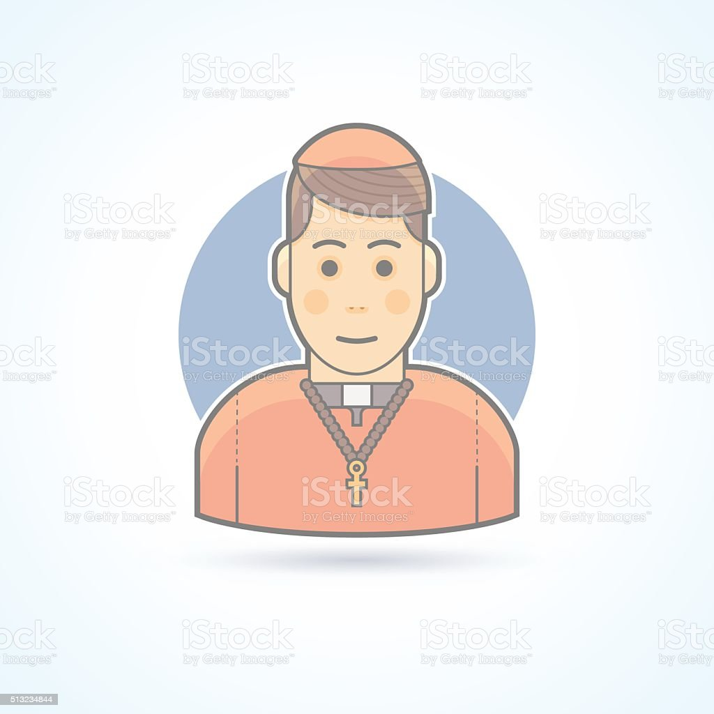 Catholic priest, clergyman in cassock icon. Avatar and person illustration. vector art illustration
