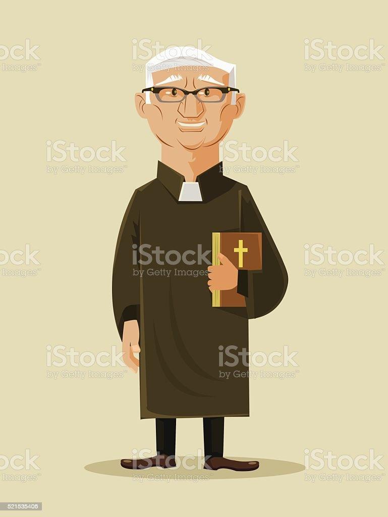 Catholic priest. Vector flat cartoon illustration vector art illustration