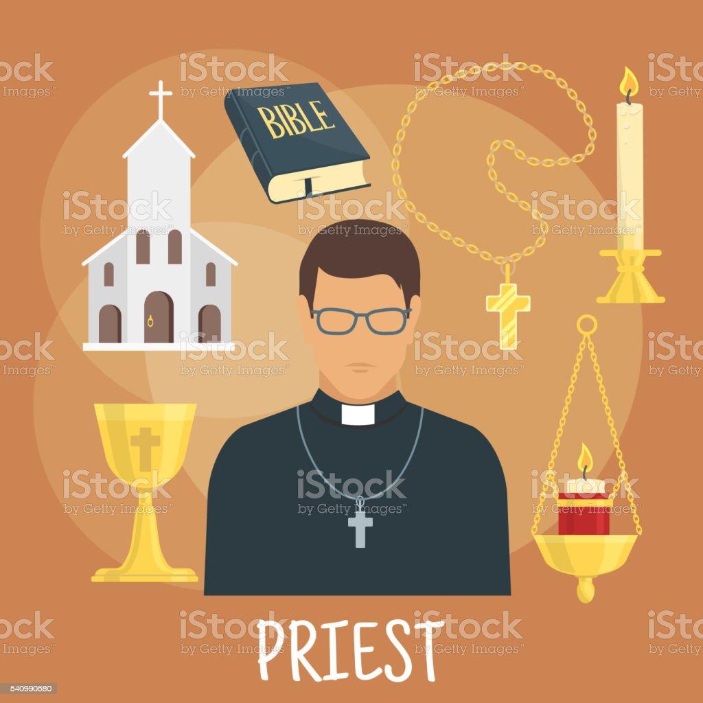 Catholic priest with religious symbols, flat style vector art illustration