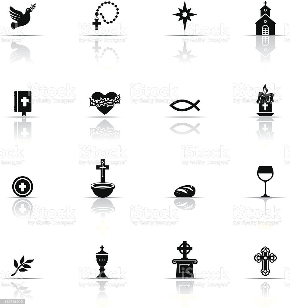 Catholicism icon set in black and white vector art illustration