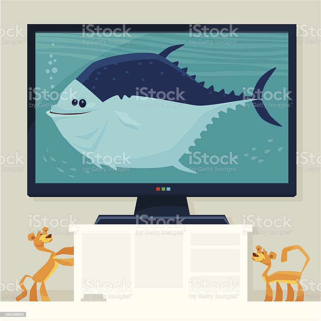 cats and big fish royalty-free stock vector art