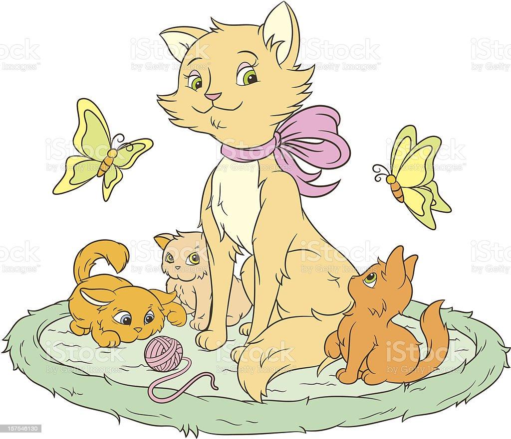Cats and butterflies vector art illustration