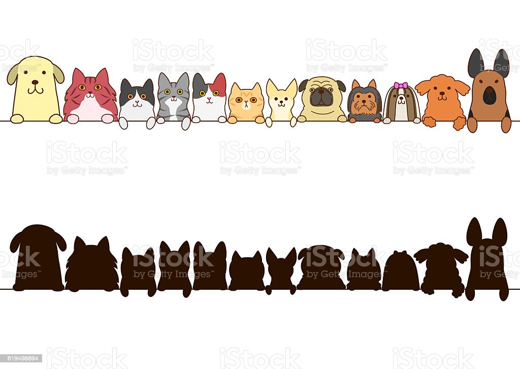 cats and dogs border set with silhouette vector art illustration