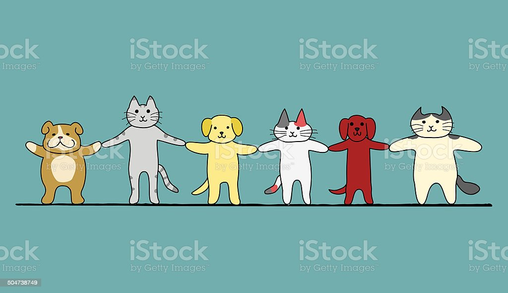 cats and dogs hand in hand vector art illustration