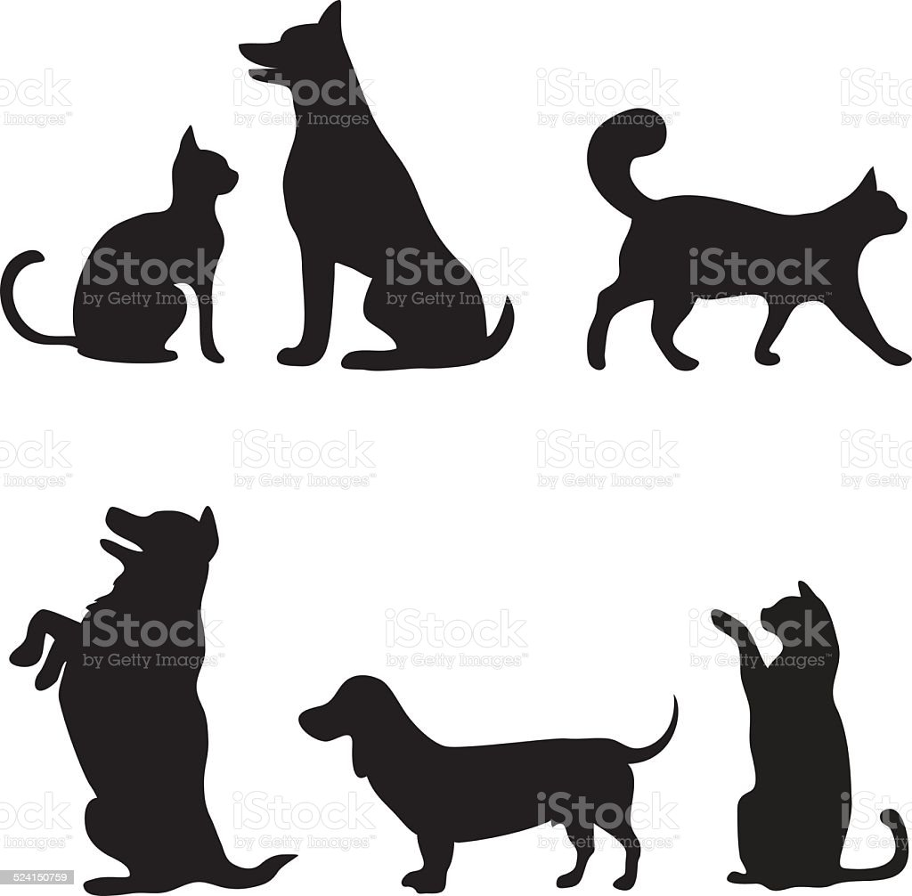 Cats and dogs set vector art illustration