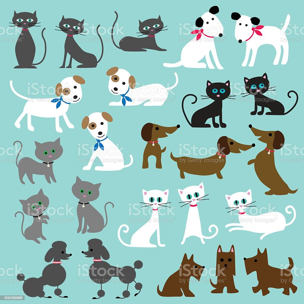cats and dogs vector art illustration