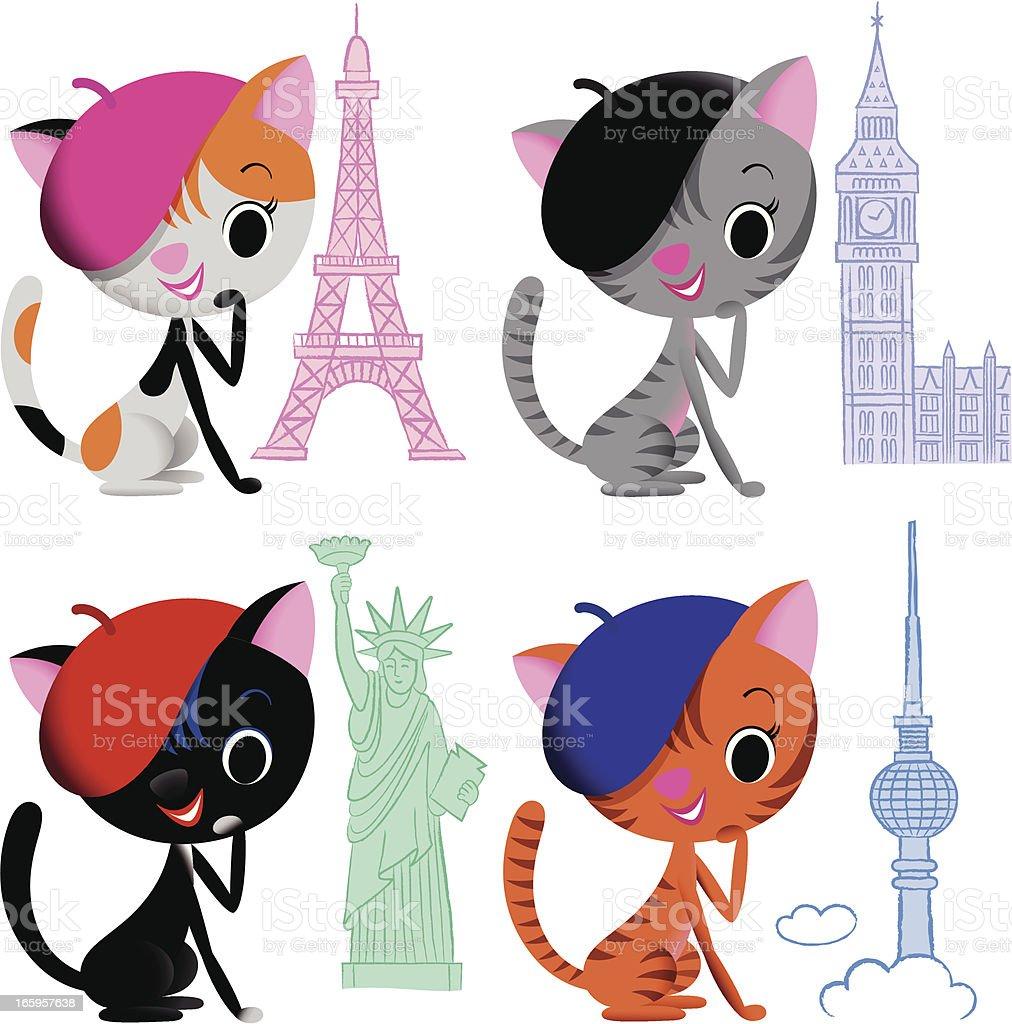 Cats and landmarks. vector art illustration