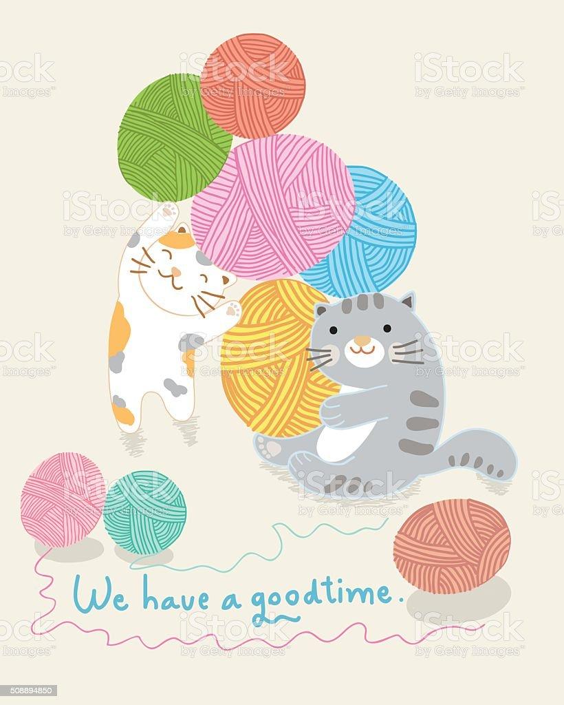 cats and yarn ballsl vector illustration vector art illustration
