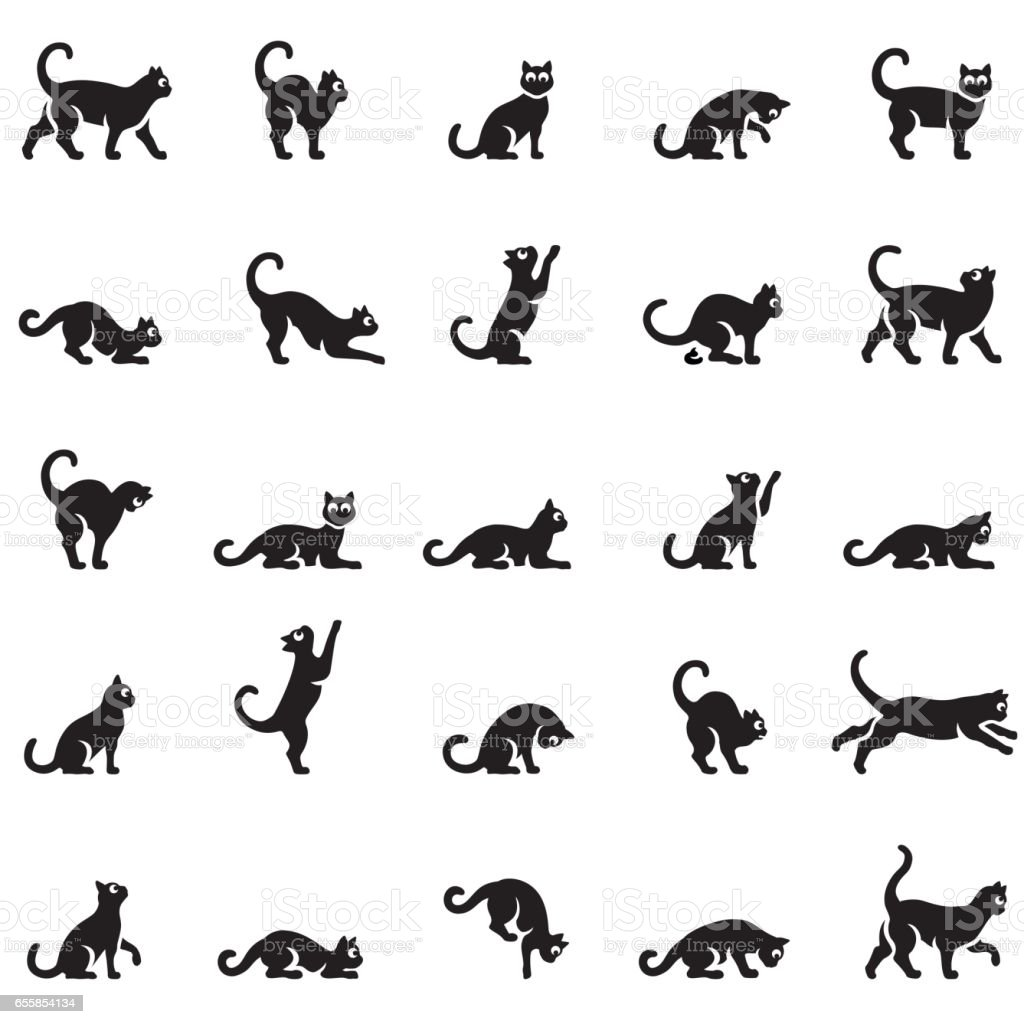Cats body language vector art illustration