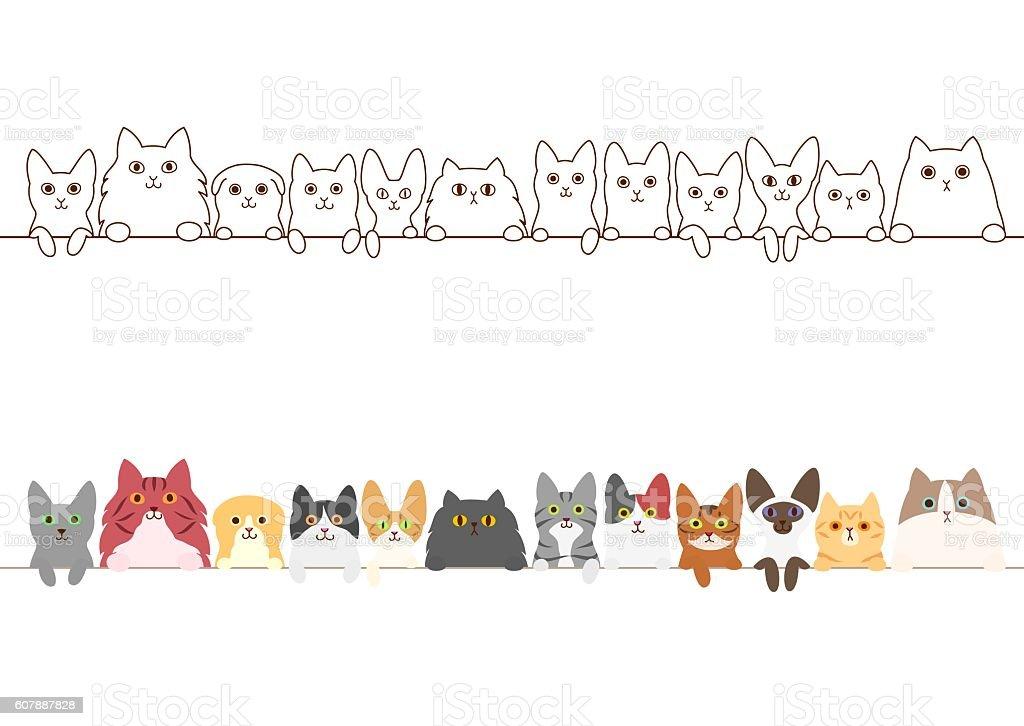 cats border set vector art illustration