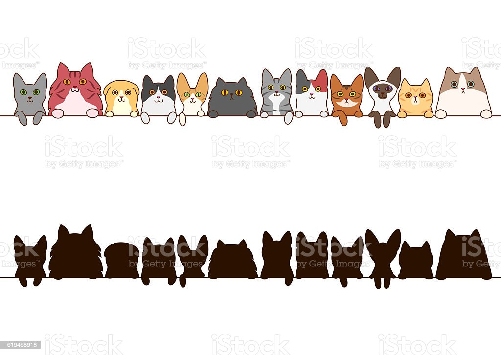 cats border set with silhouette vector art illustration