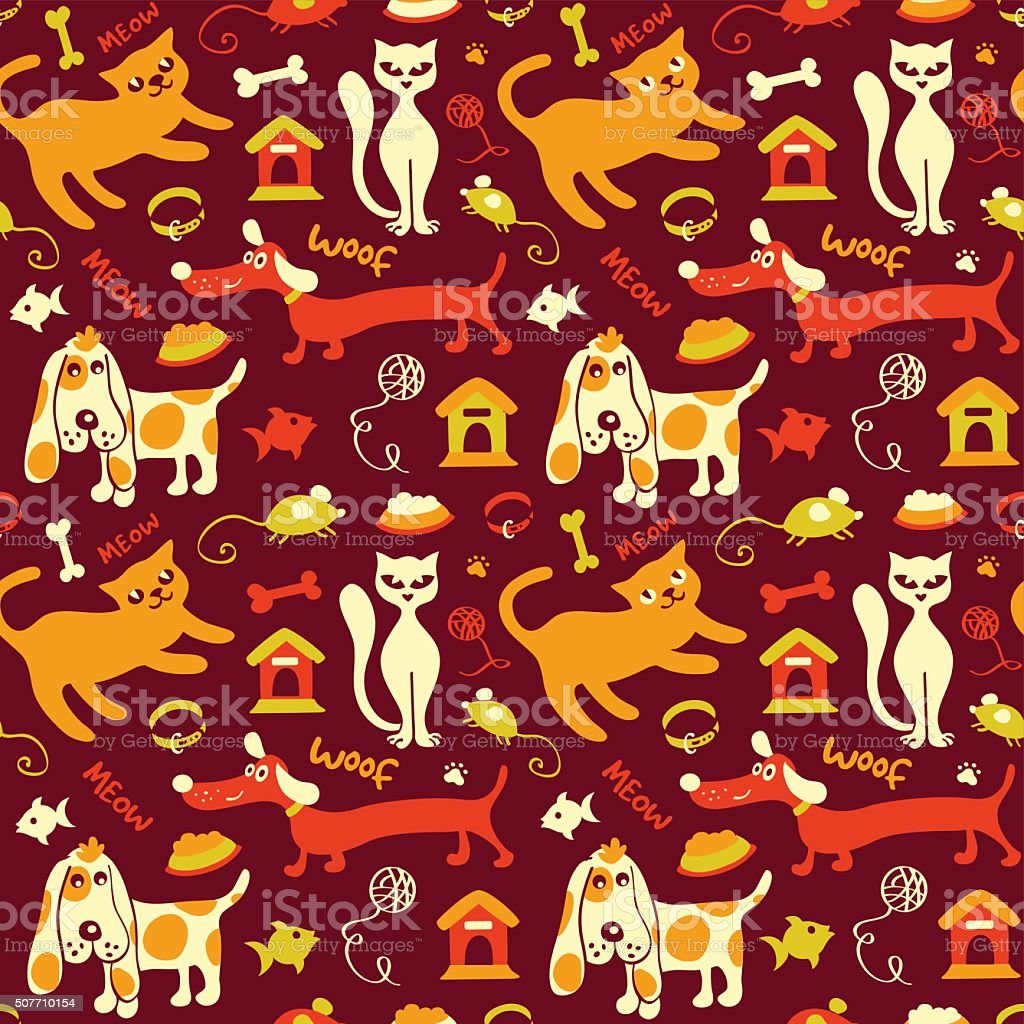 Cats + dogs seamless pattern in bright colors vector art illustration
