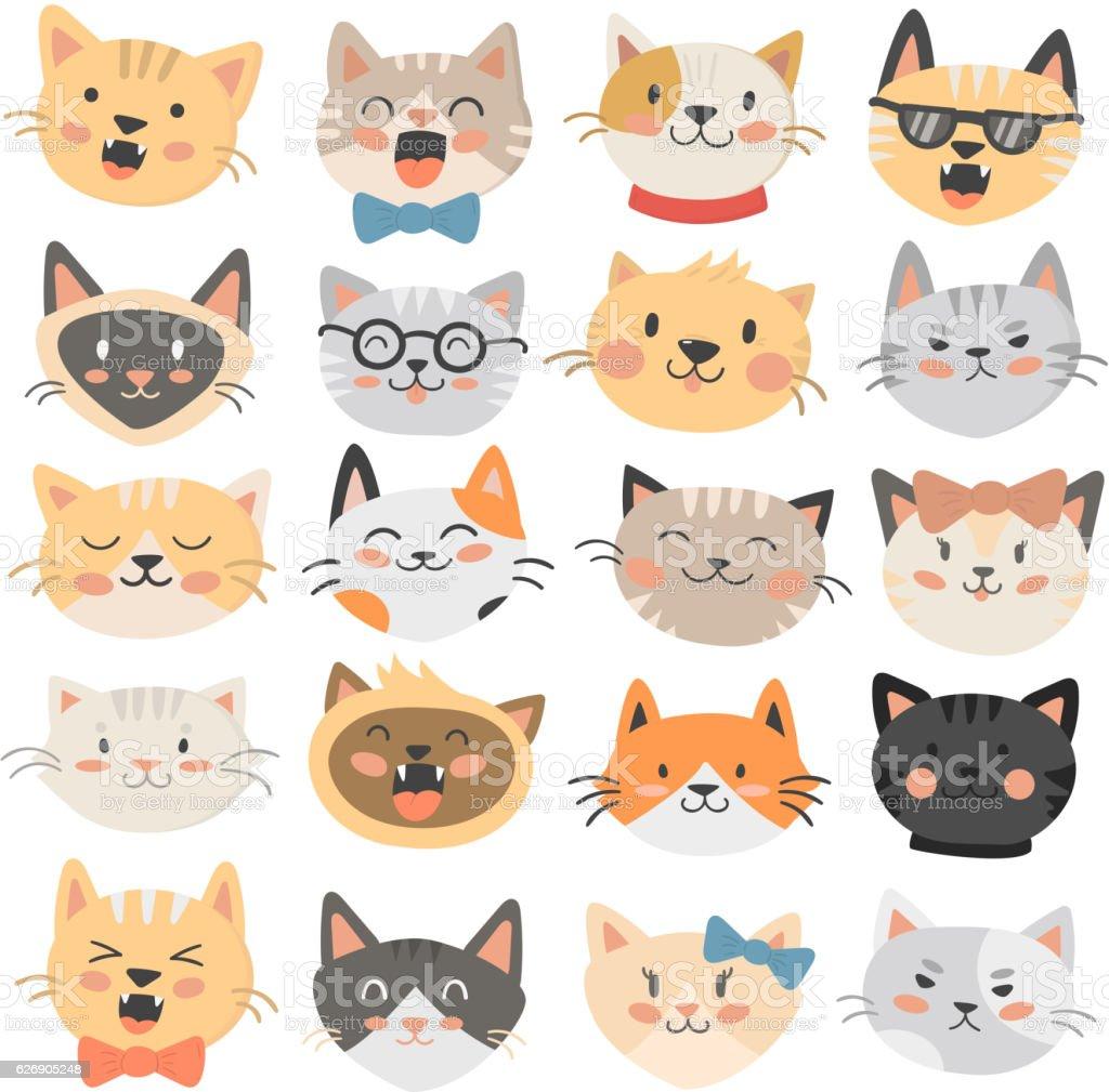 Cats heads emoticons vector. vector art illustration
