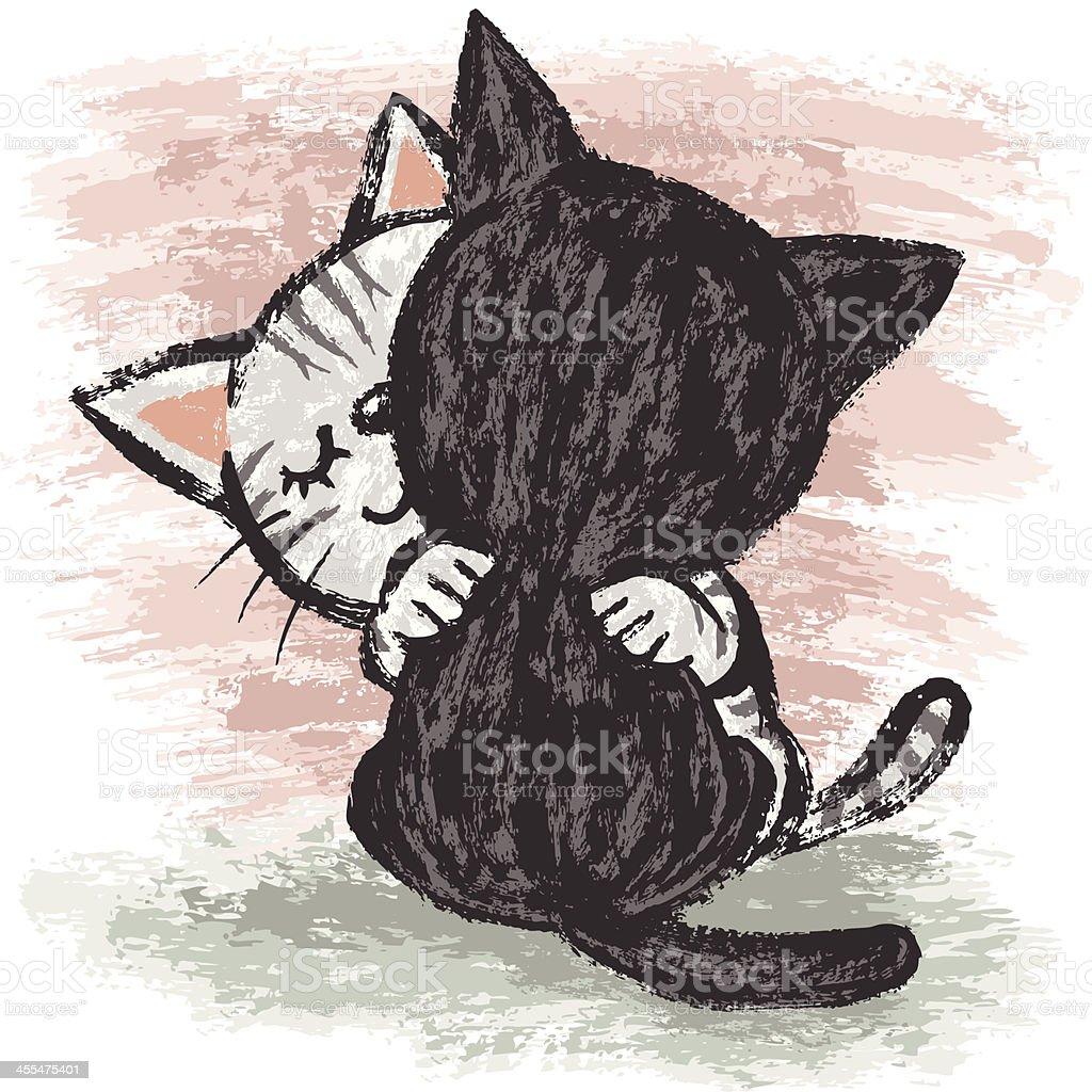 Cats hug vector art illustration