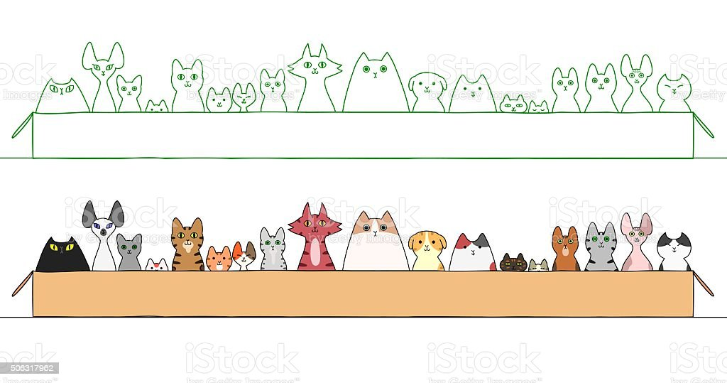 cats in boxes in a raw vector art illustration