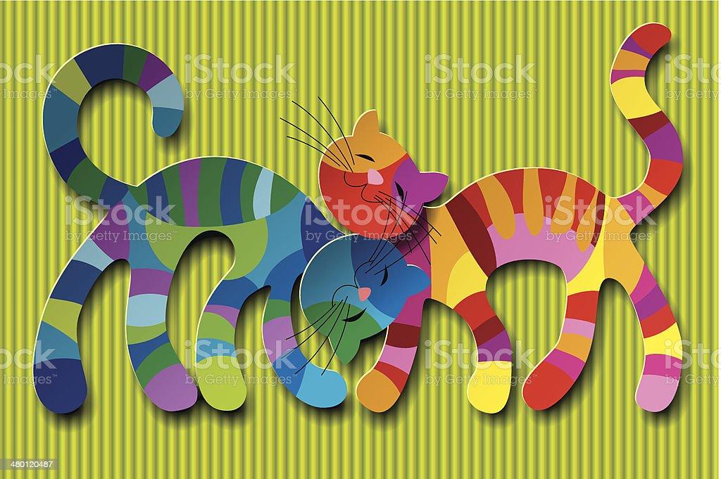 Cats in love vector art illustration