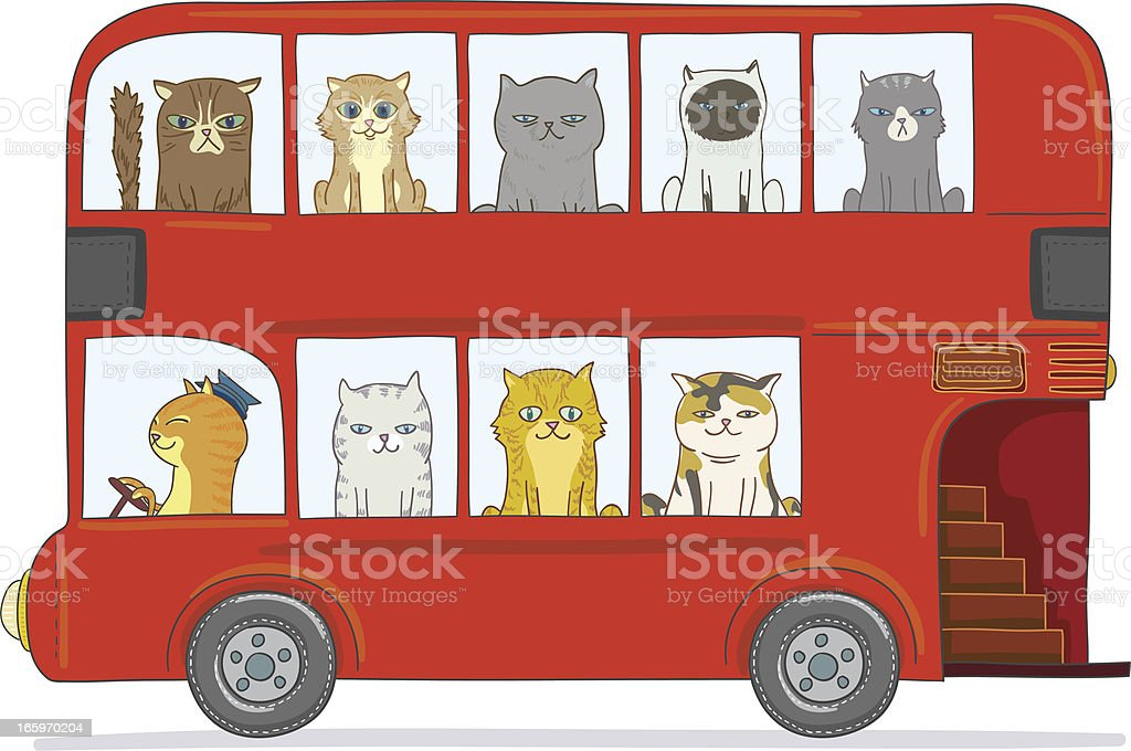 Cats in the bus royalty-free stock vector art