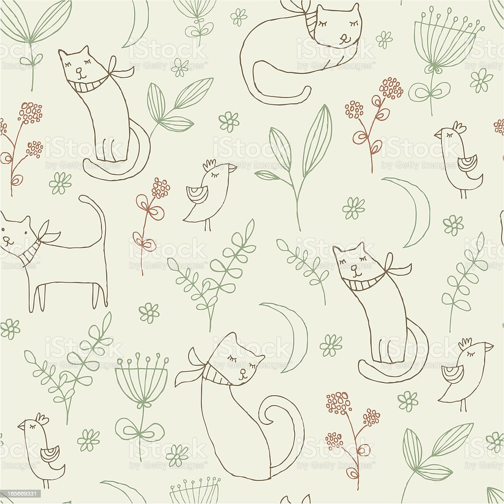 Cats in the Garden royalty-free stock vector art