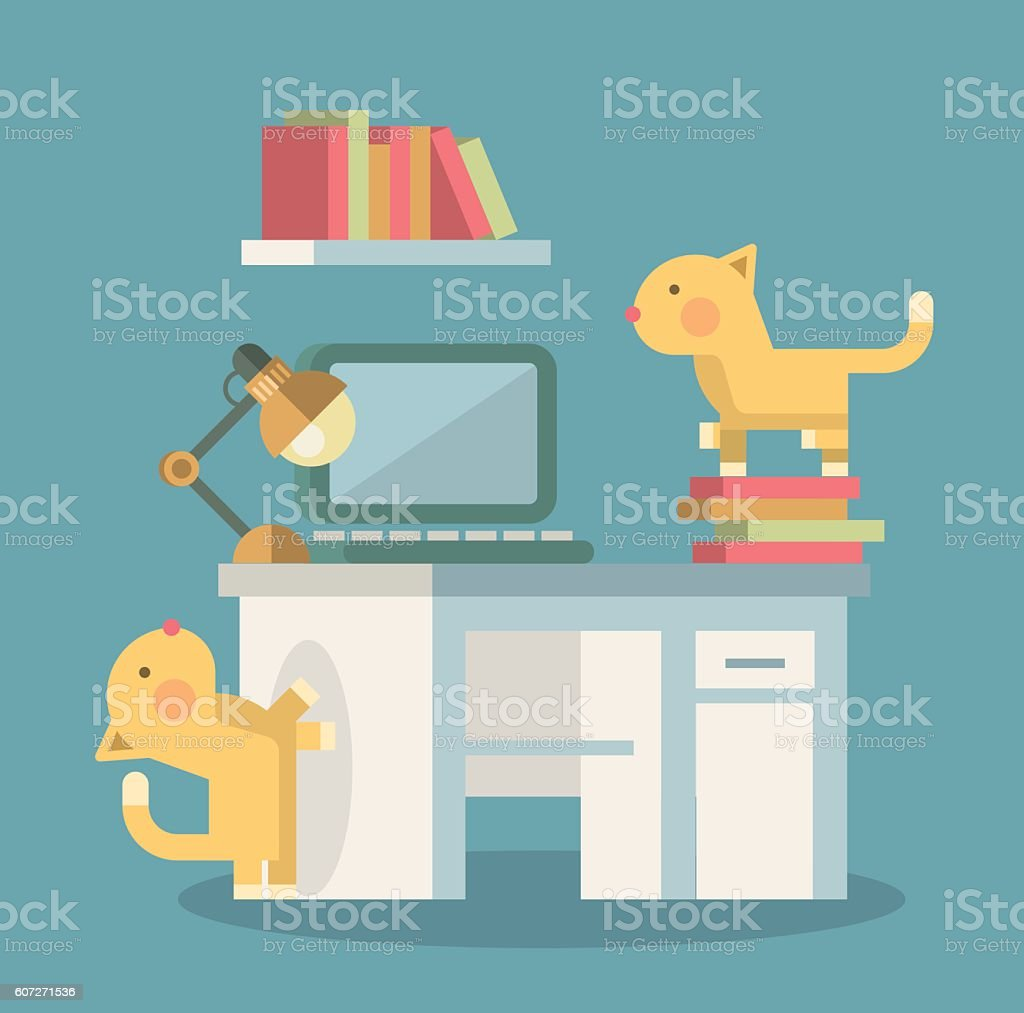 Cats in the Office. vector art illustration