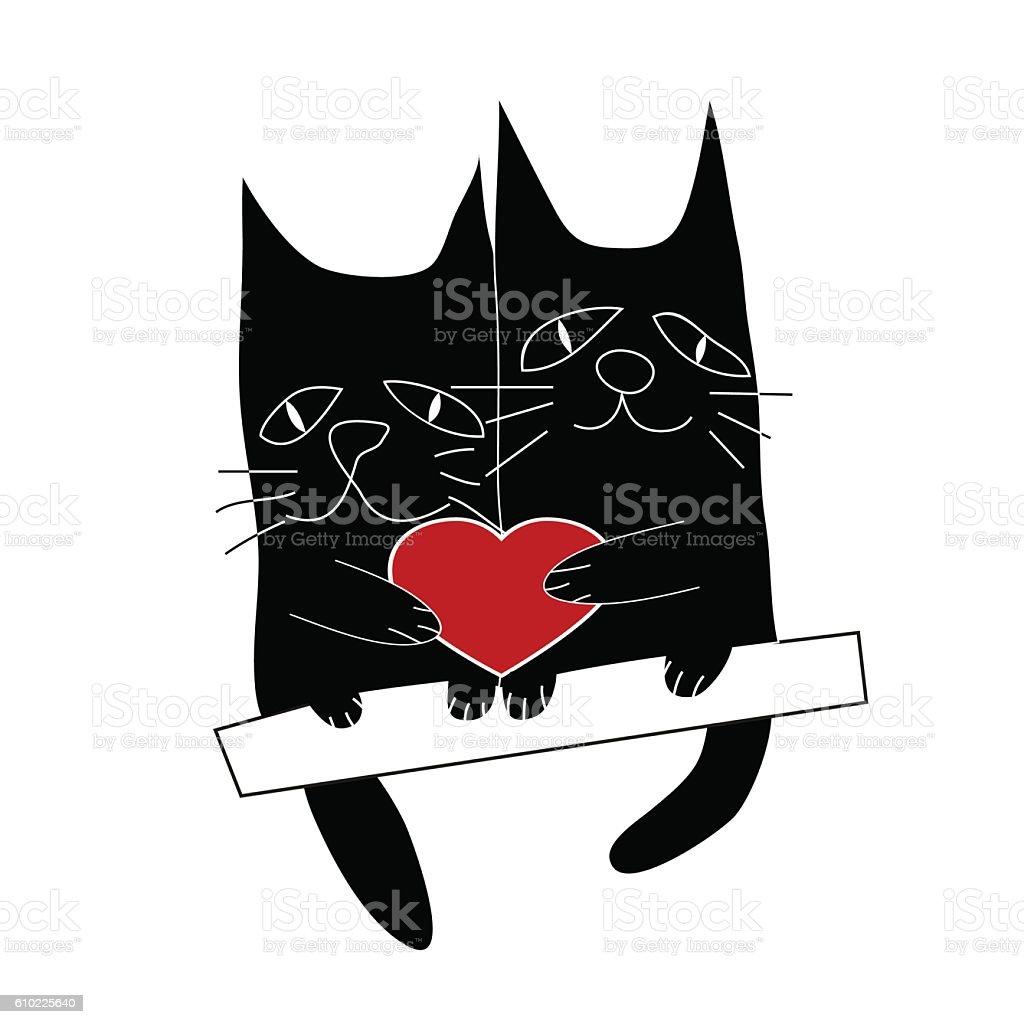 Cat's love. Cartoon vector illustration. vector art illustration