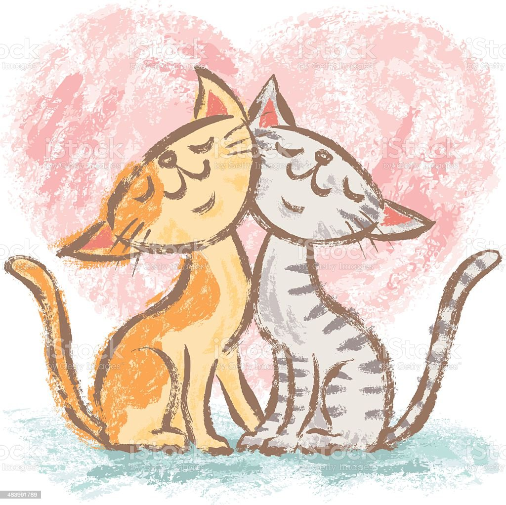 Cats love each other vector art illustration