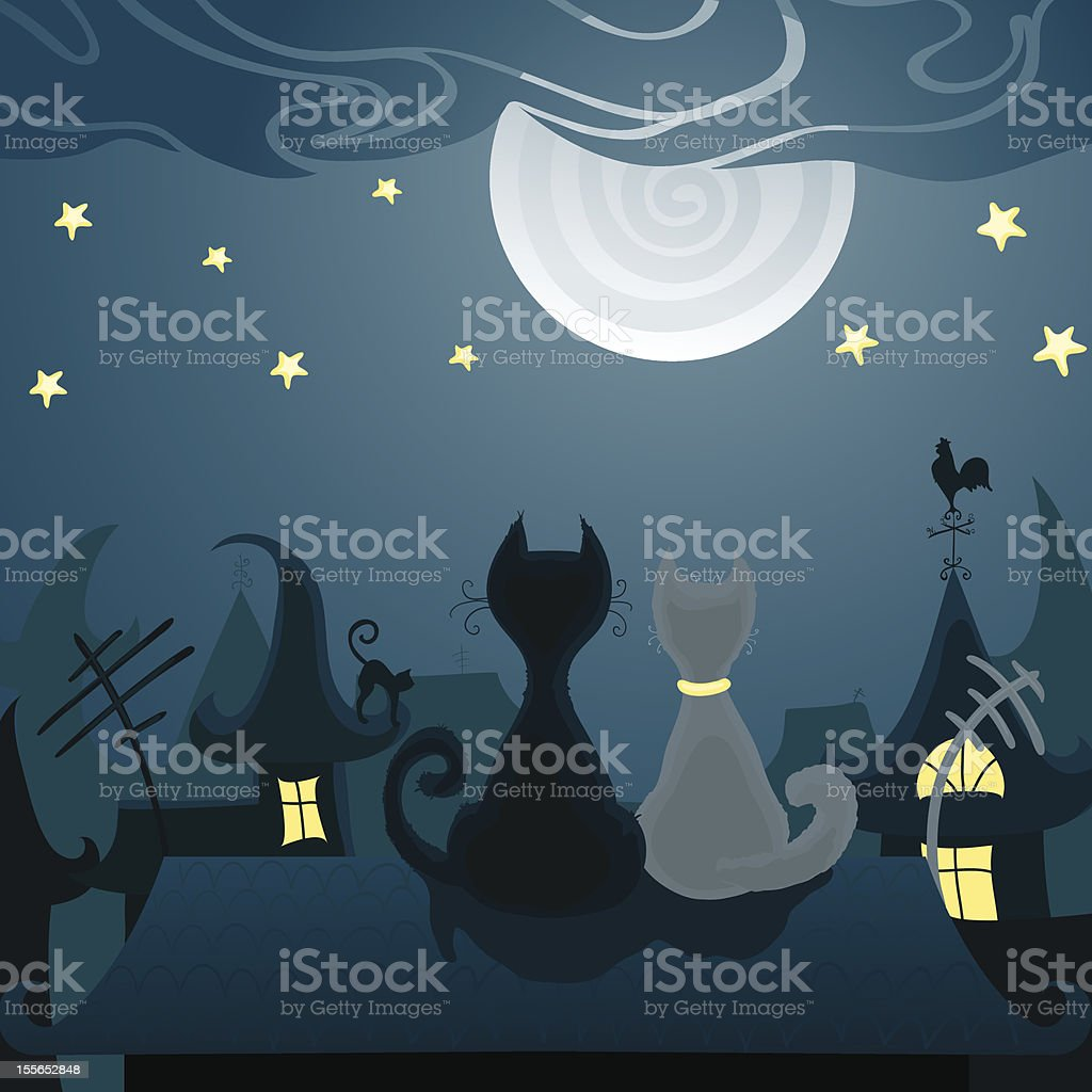 Cats on the roof royalty-free stock vector art