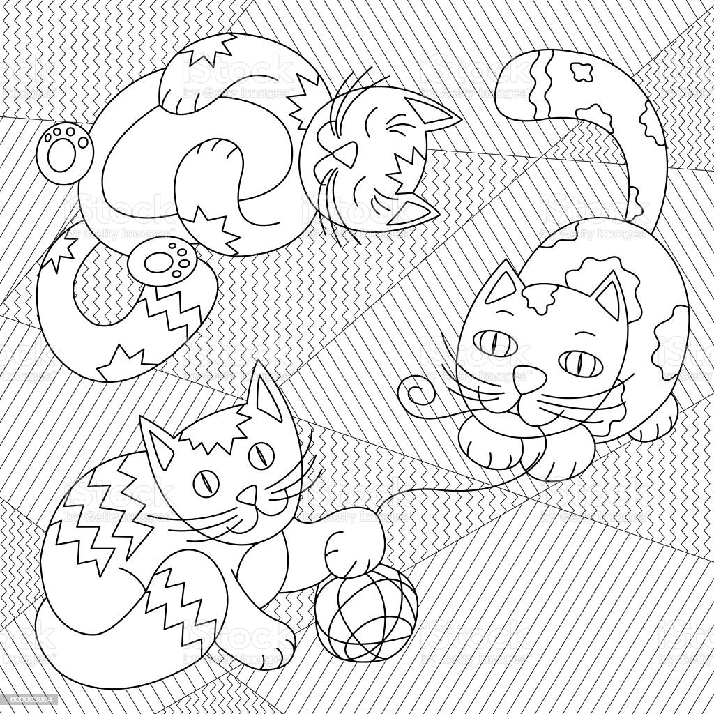 Cats playing with clew - coloring page for kids vector art illustration