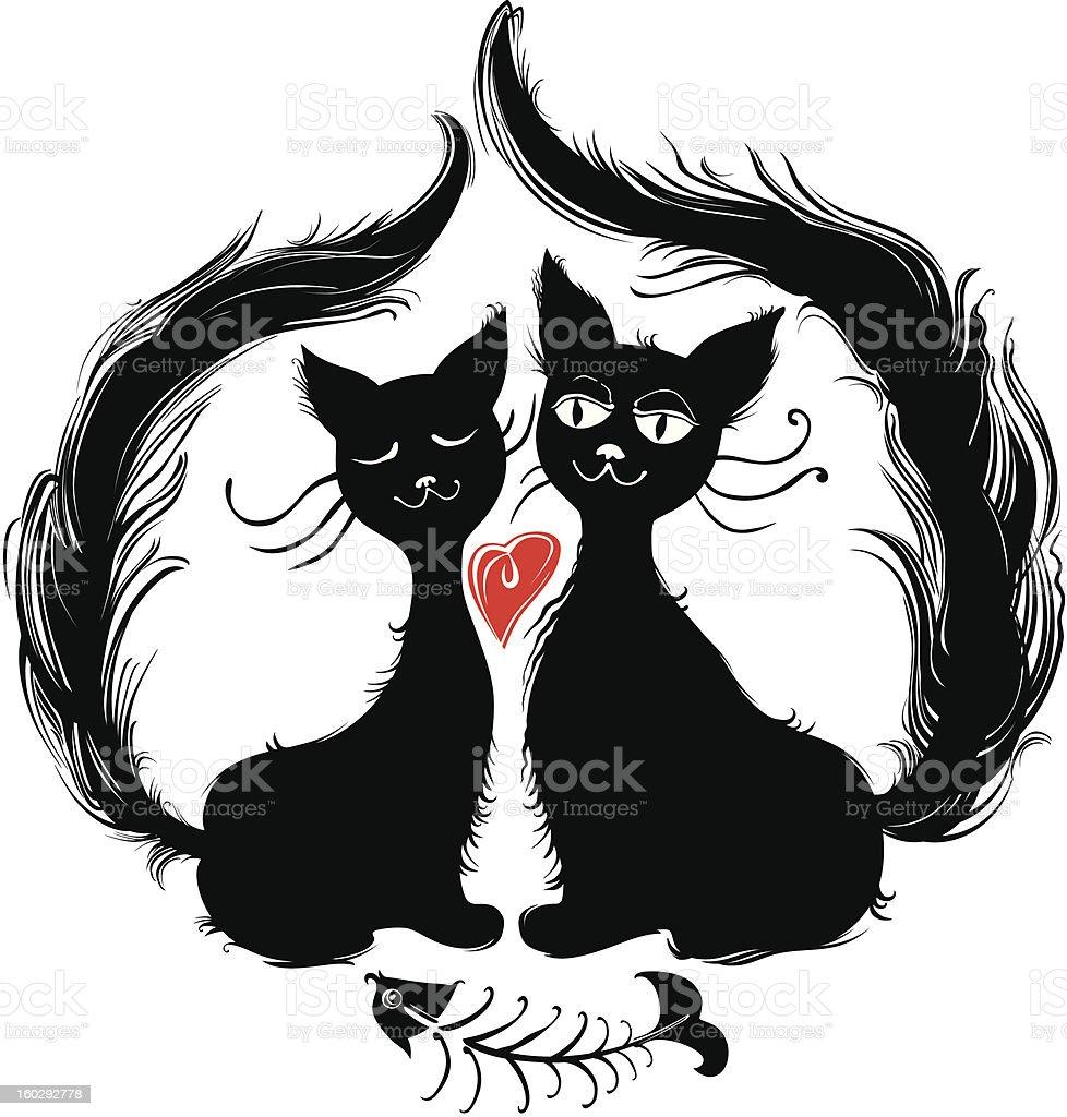 Cats. Romantic dinner. royalty-free stock vector art