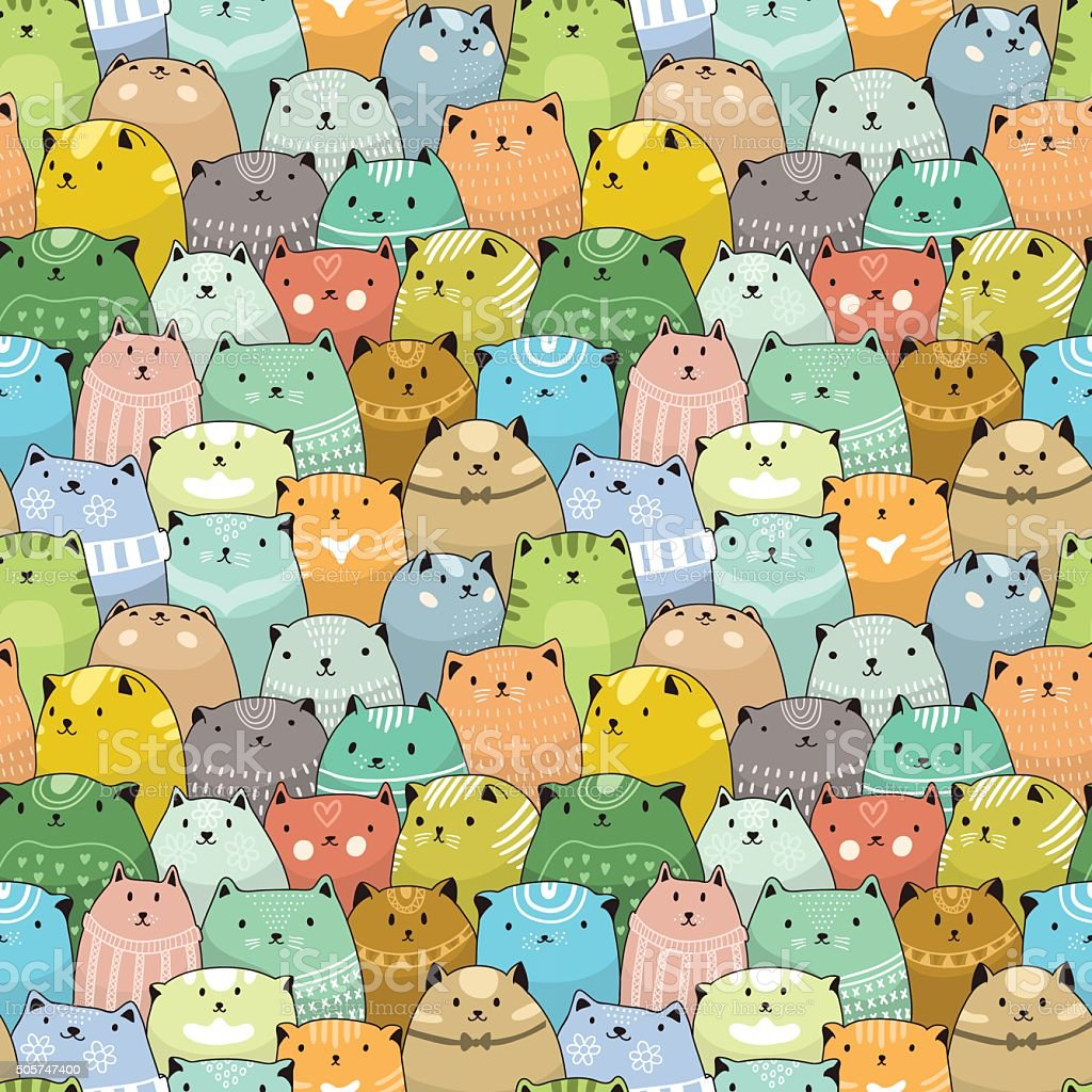 Cats seamless pattern vector art illustration