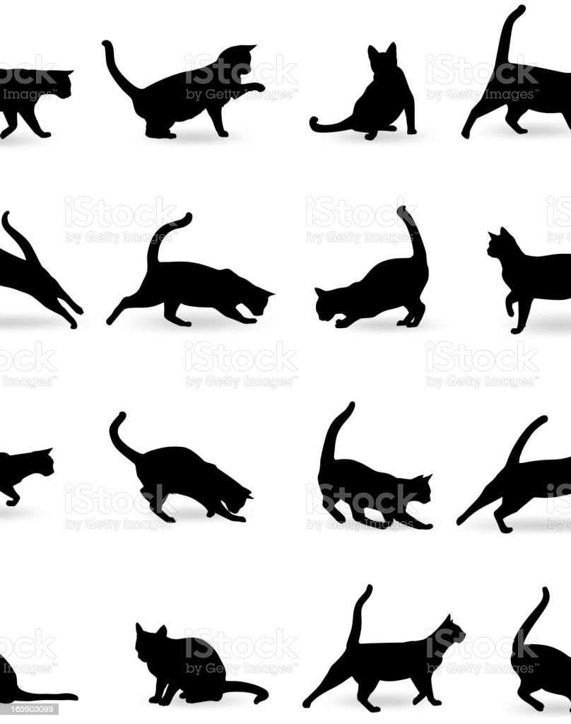 Cats Silhouette vector art illustration