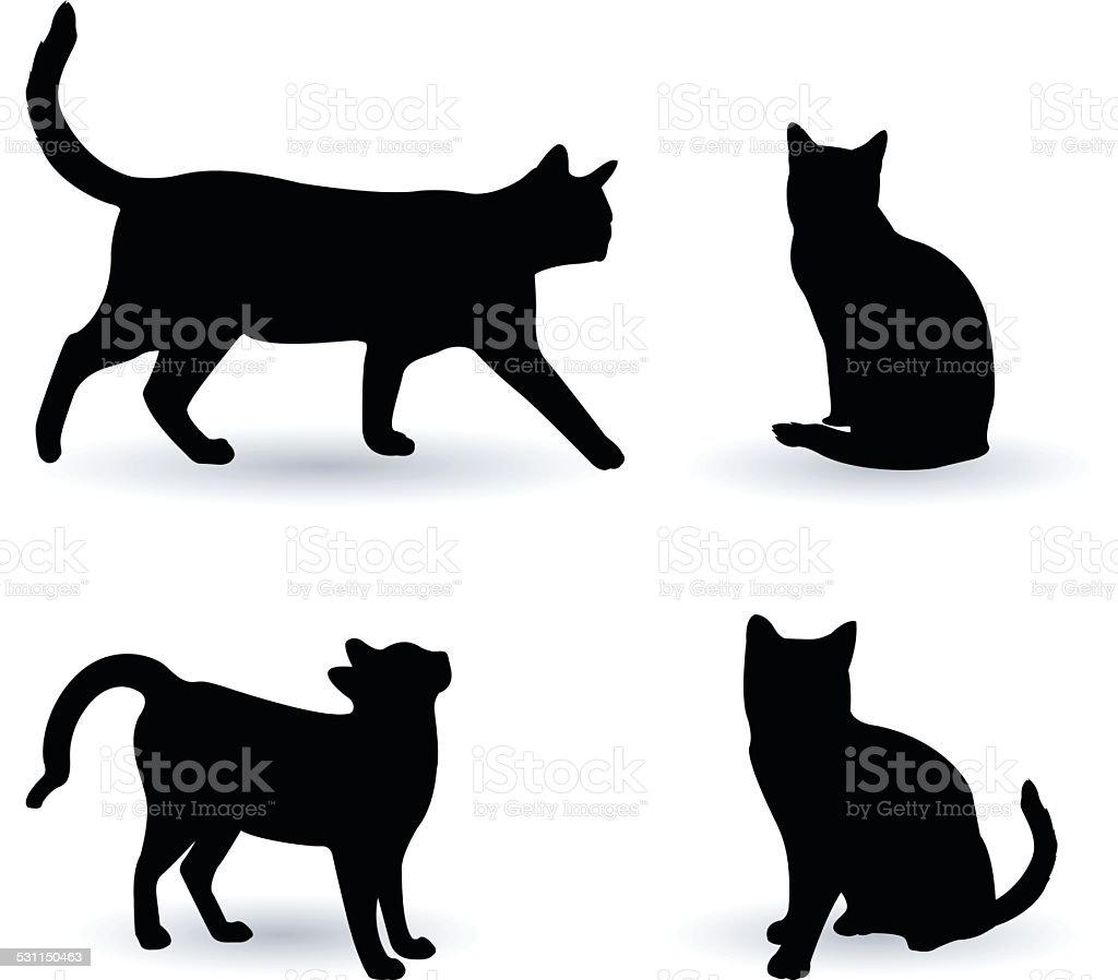 Cats silhouette vector art illustration