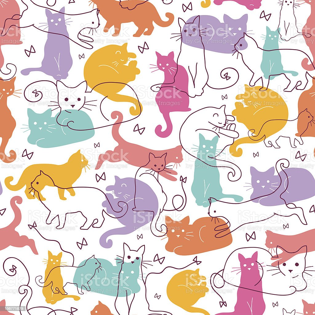 Cats Silhouettes Seamless Pattern Background royalty-free stock vector art