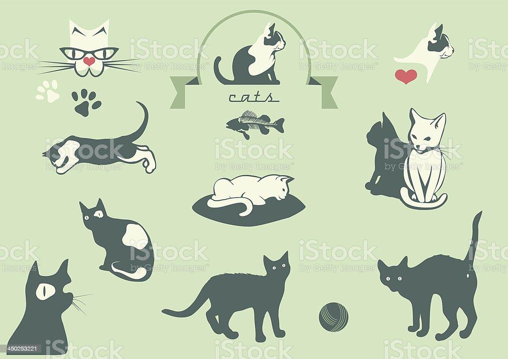 cats silhouettes, veterinary logo elements, vector art illustration