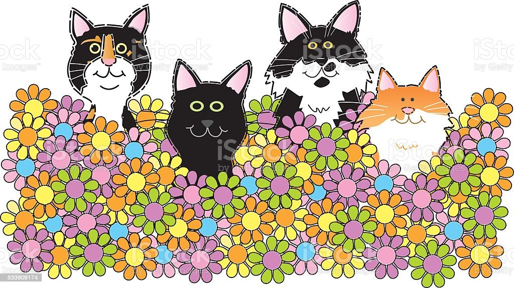 Cats Sitting In Flowers vector art illustration