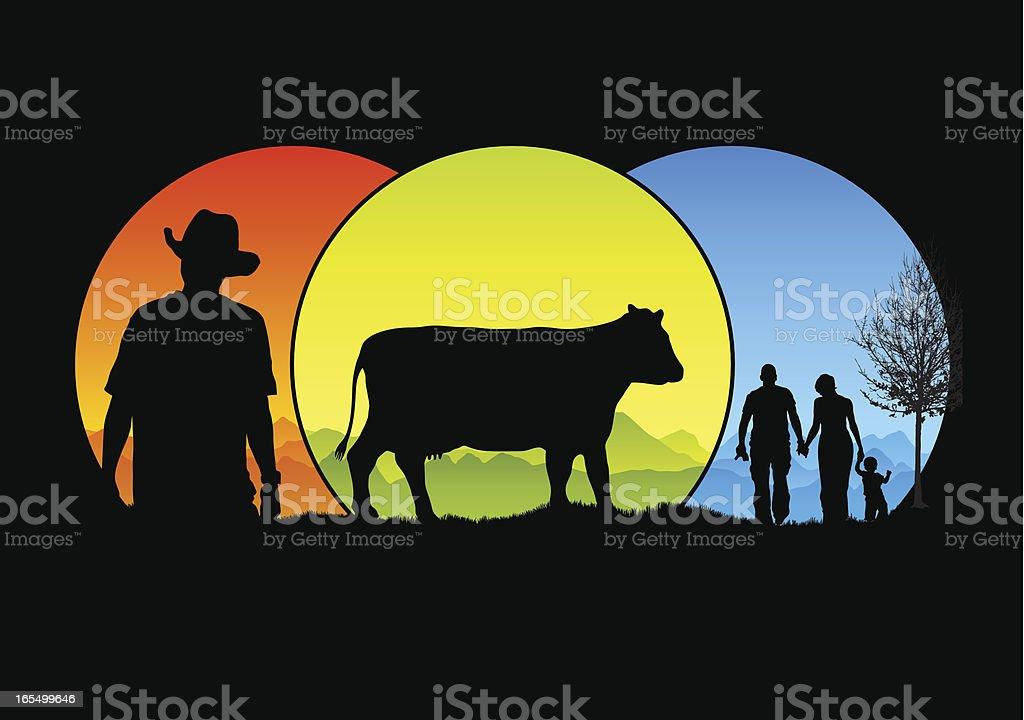 Cattle farming royalty-free stock vector art