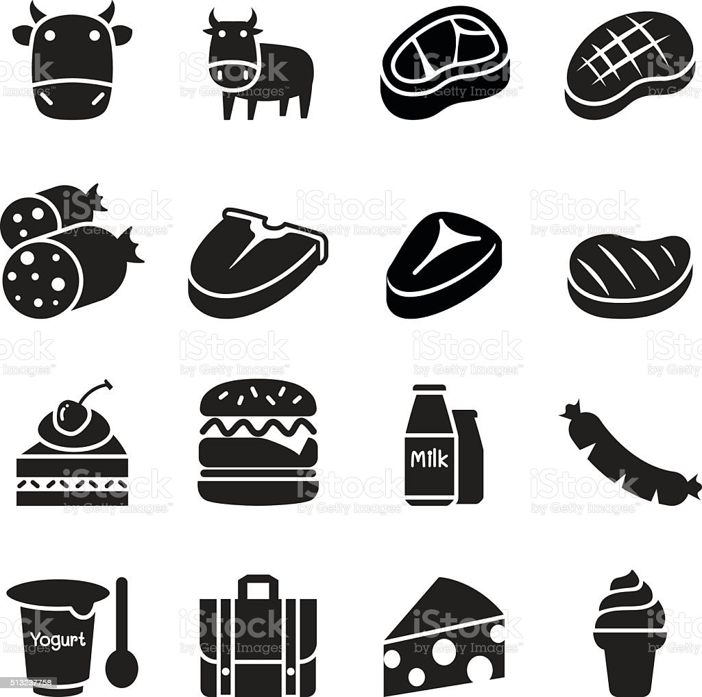 cattle icons vector art illustration