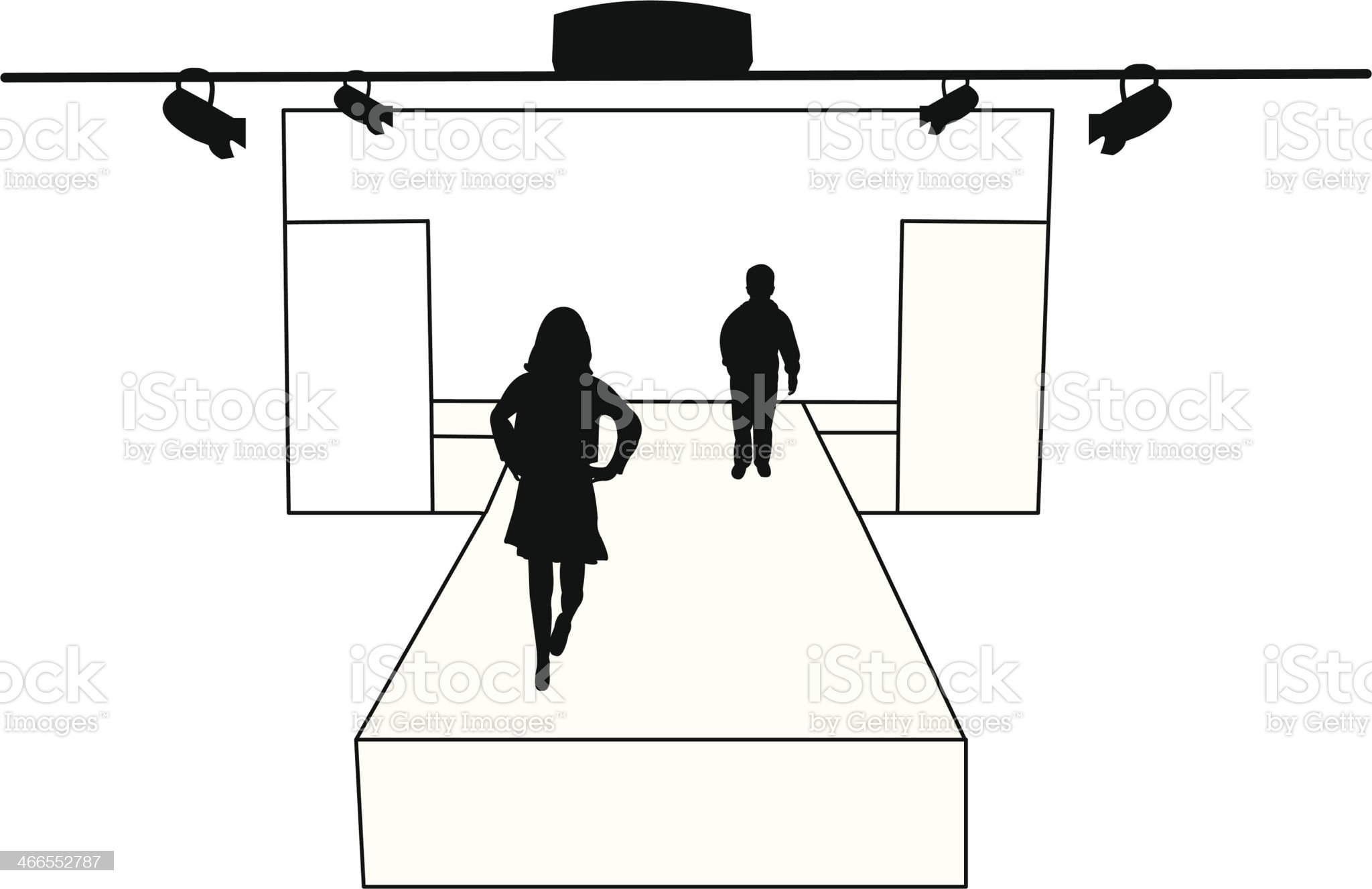 Catwalk and children models silhouette layered royalty-free stock vector art