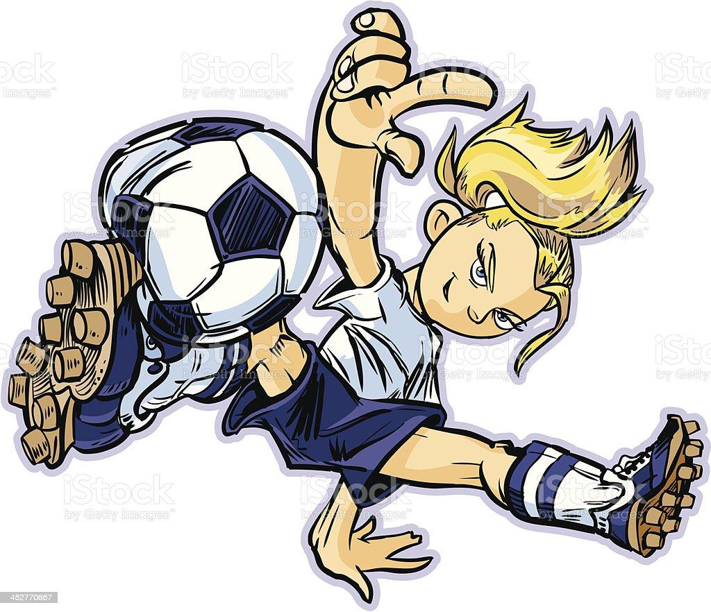 Caucasian Break Dancing Soccer Girl royalty-free stock vector art
