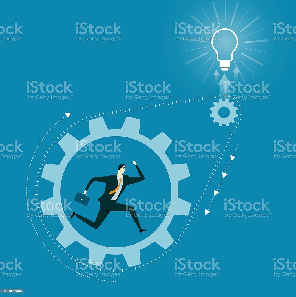 Caucasian man run inside metal gear. vector art illustration